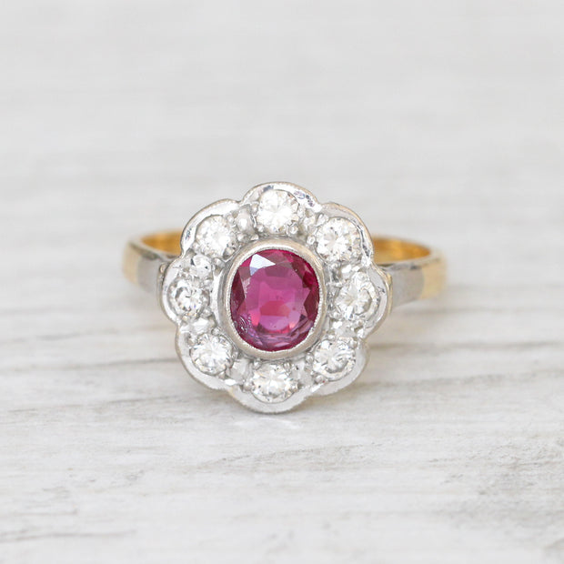 Vintage 0.60 Carat Ruby and Diamond Cluster Ring
