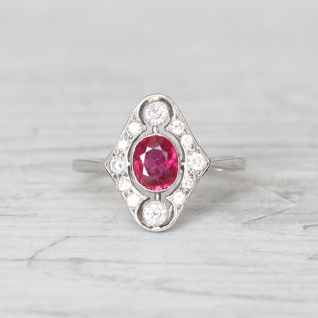 Art Deco Style 1.10 Carat Ruby and Diamond Cluster