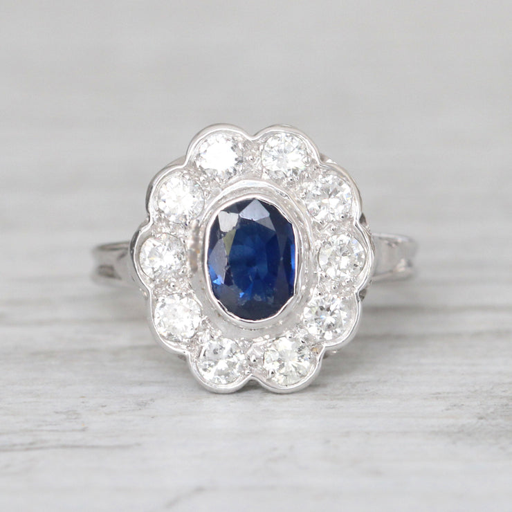 Vintage French 1.25 Carat Sapphire and Diamond Cluster
