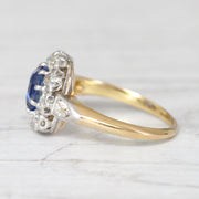 Victorian 1.79 Carat Ceylon Sapphire and Old Cut Diamond Cluster