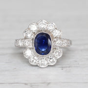 Art Deco 1.35 Carat Sapphire and Diamond French Cluster
