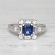 Art Deco Style Sapphire and Diamond Square Cluster