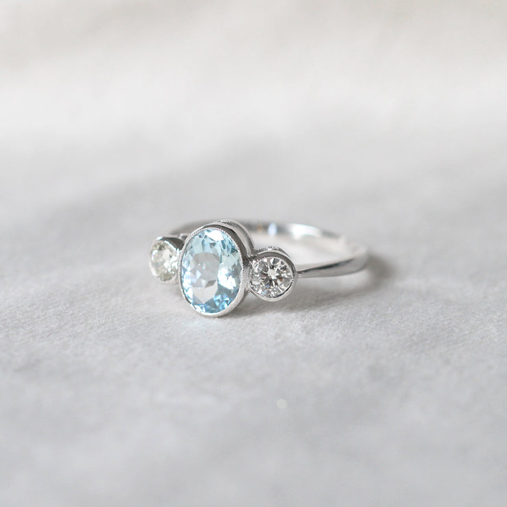 Vintage Style 1.30 Carat Aquamarine and Diamond Three Stone