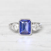 Vintage Style 2.20 Carat Tanzanite and Diamond Three Stone