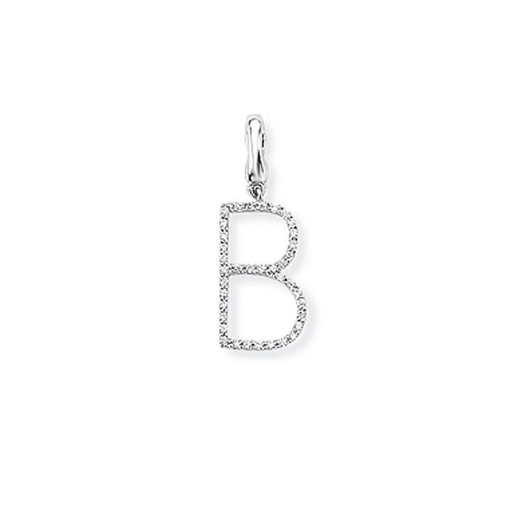 Diamond Initial Pendant 9ct White Gold
