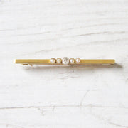 Edwardian Old Mine Cut Diamond and Pearl Stock Pin