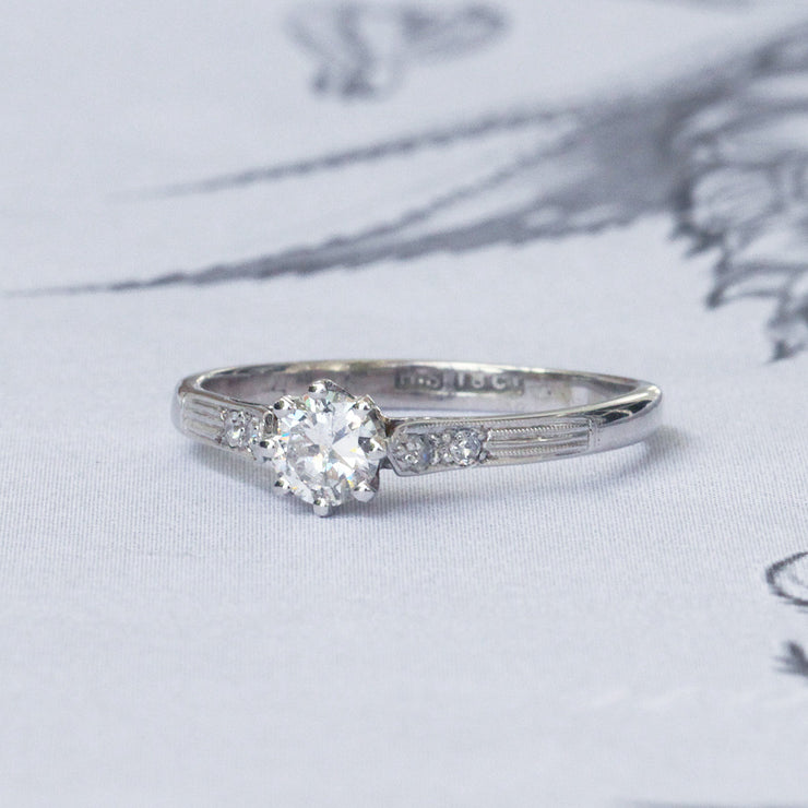 Vintage 0.30 Carat Transitional Cut Diamond Solitaire