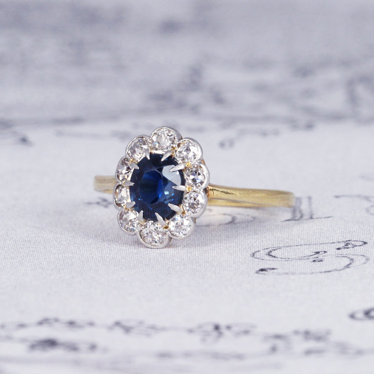 Vintage Sapphire and Old Cut Diamond Cluster Ring