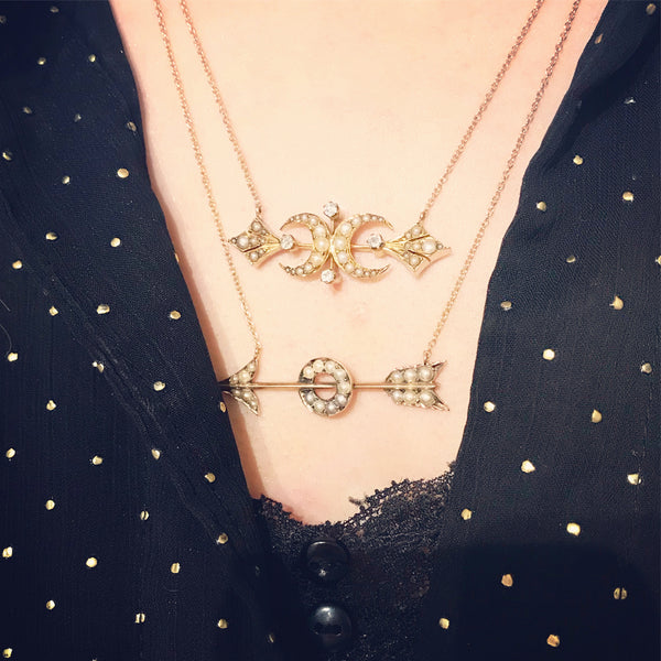 Victorian Pearl Arrow Conversion Necklace