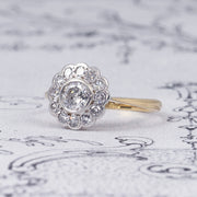 Edwardian Old Cut Diamond Daisy Cluster Ring
