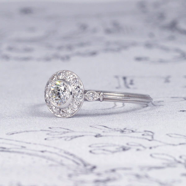 Art Deco Style Diamond Daisy Cluster Engagement Ring