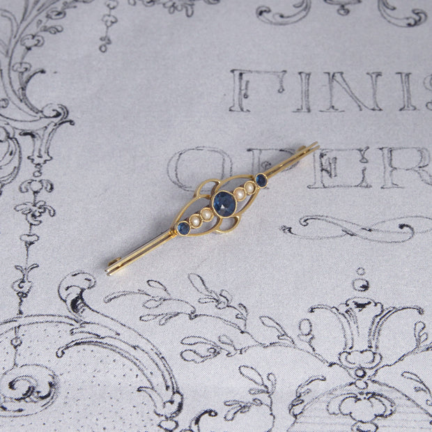 Edwardian 18ct Gold Pearl and Paste Sapphire Brooch