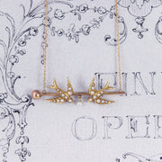 Victorian Pearl Swallow Conversion Necklace