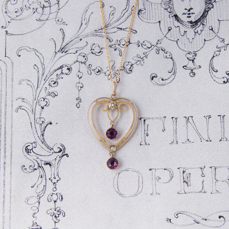 Victorian Amethyst and Pearl Pendant