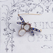 Moonstone and Rose Cut Diamond Insect Brooch