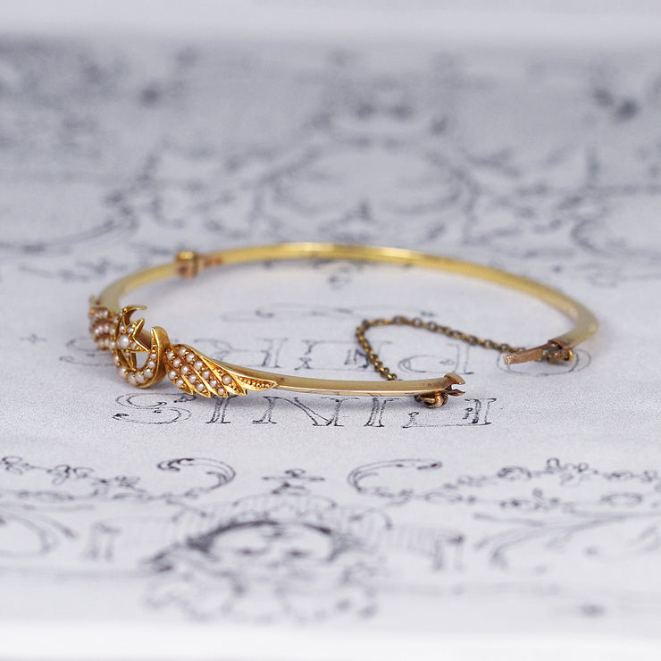 Victorian Crescent Moon, Star and Wing Pearl Bangle