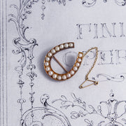 Victorian Horseshoe Pearl Good Luck Brooch