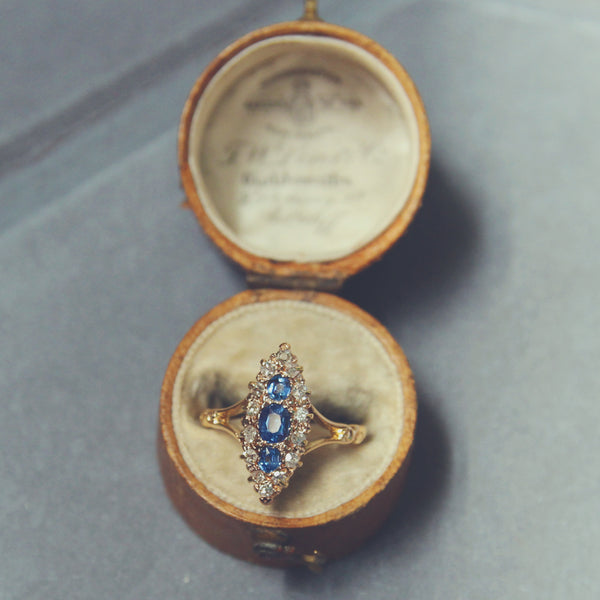 Victorian Cornflower Blue Sapphire and Diamond Marquise Cluster