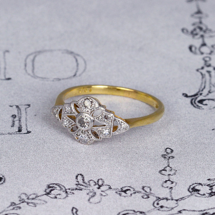 Edwardian Single Cut Diamond Marquise Panel Cluster Ring