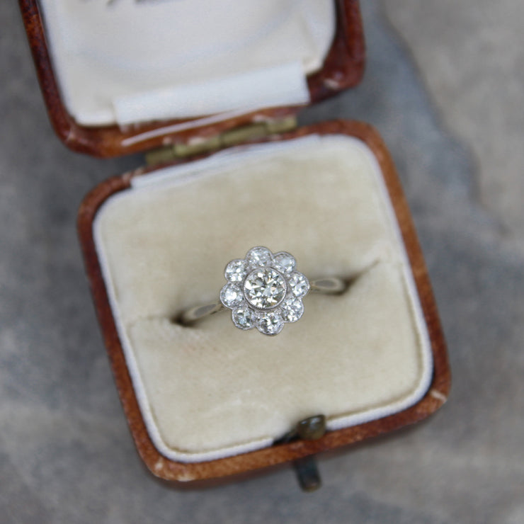 Edwardian Old European Cut Diamond Daisy Cluster Ring