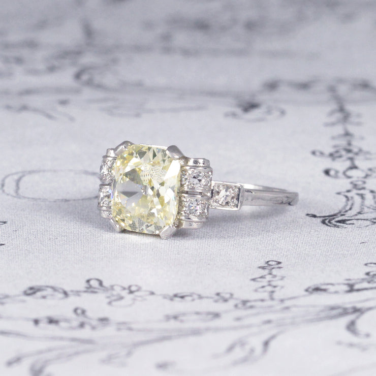 Art Deco 2.23 Carat Lemon Old Cushion Cut Diamond Ring