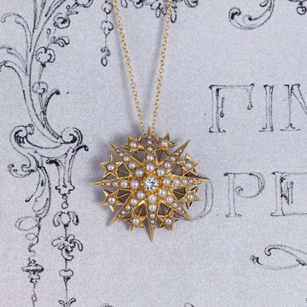 Victorian Old Cut Diamond and Pearl Star Pendant/ Brooch