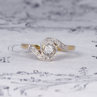 Belle Époque Old Cut Diamond Swirl Solitaire Ring