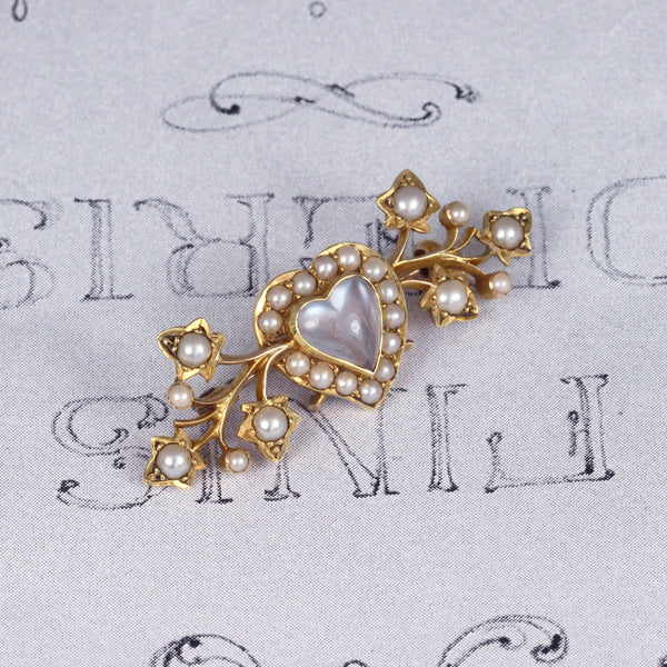 Victorian Heart Shape Moonstone and Pearl Brooch