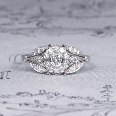 Vintage Style Cluster Engagement Ring with Diamond Shoulders