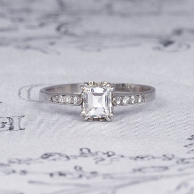 Art Deco 0.70 Carat Carré Step Cut Diamond Solitaire