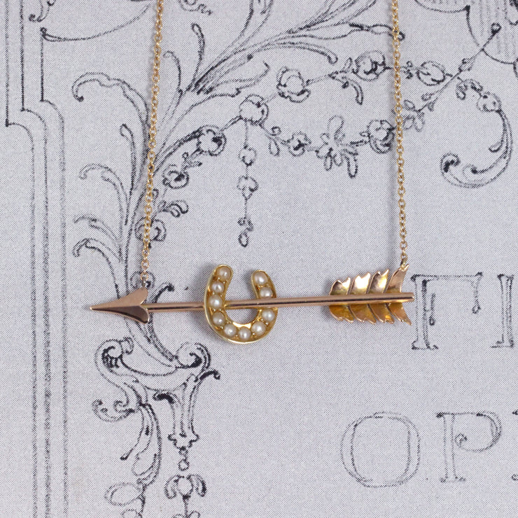 Victorian Arrow and Horseshoe Pearl Conversion Necklace