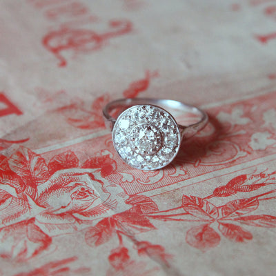 Vintage Old Cut Diamond Halo Cluster Ring