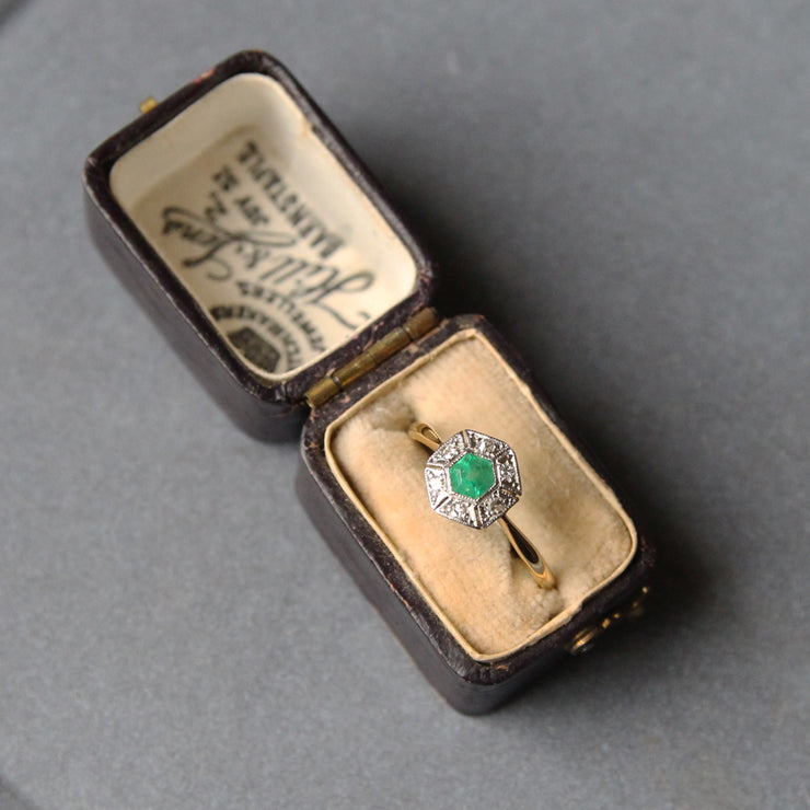 Edwardian Emerald and Diamond Hexagonal Cluster Ring