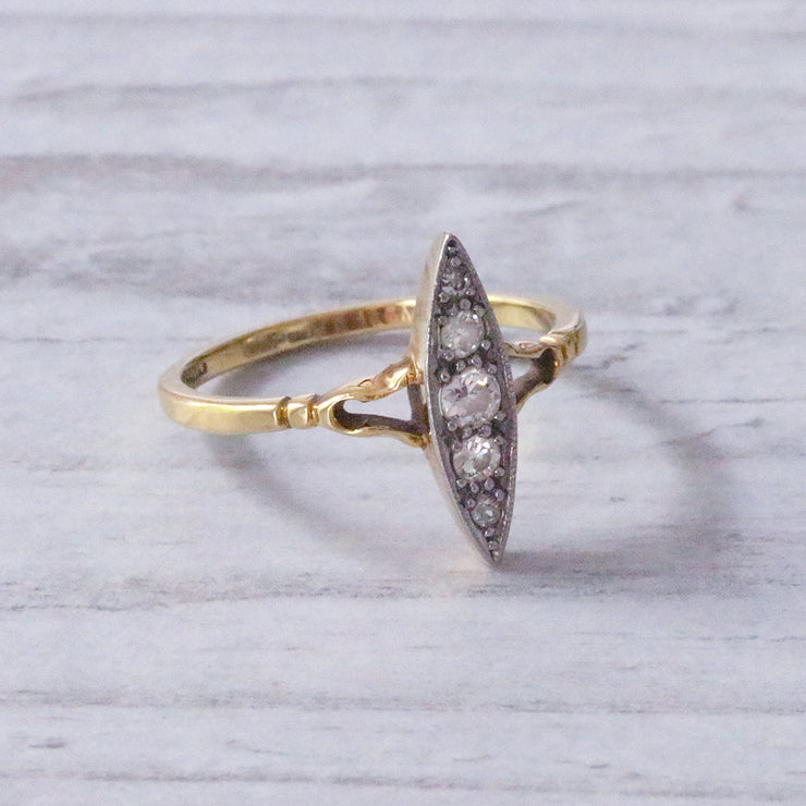 Victorian Old Cut Diamond Navette Cluster Ring