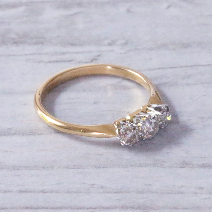 Edwardian 0.40 Carat Old European Cut Diamond Three Stone Ring