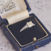 Art Deco 0.53 Carat Old Mine Cut Diamond Solitaire Ring