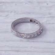Vintage Single Cut Diamond Engraved Half Eternity Ring