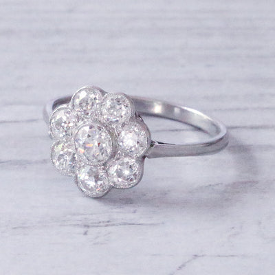 Edwardian 2.15 Carat Old Cut Diamond Daisy Cluster Ring