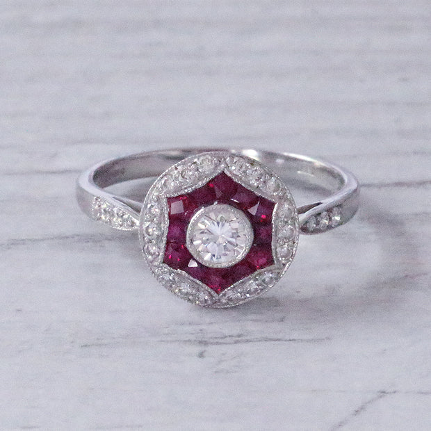 Art Deco Style Diamond & Ruby Target Cluster Ring