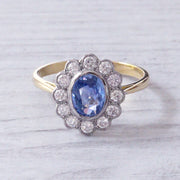 Edwardian Style Cornflower Blue Sapphire and Diamond Oval Cluster Ring