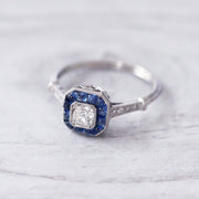 Art Deco Style Old Mine Cut Diamond and Cabochon Sapphire Target Cluster