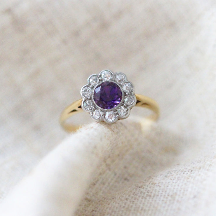Edwardian Amethyst and Old Cut Diamond Cluster