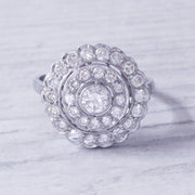 Art Deco 1.33 Carat Diamond Double Halo Cluster