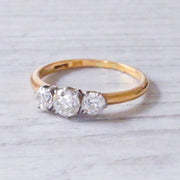 Edwardian 0.87 Carat Old European Cut Diamond Three Stone Ring