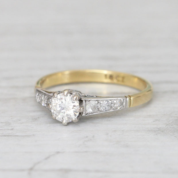 Vintage 0.33 Carat Brilliant Cut Diamond Solitaire