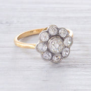 Edwardian 1.80 Carat Old Cut Diamond Daisy Cluster