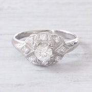 Art Deco 0.67 Carat Old European Cut Diamond Engagement Ring