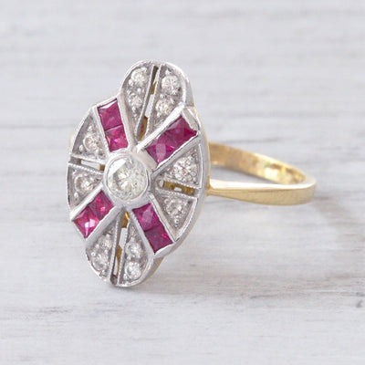 Vintage Brilliant Cut Diamond and Calibré Cut Ruby Cluster