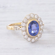 Vintage Ceylon Sapphire and Diamond Oval Cluster Ring