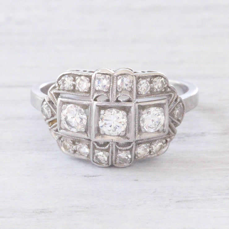 Art Deco 0.60 Carat Transitional Cut Diamond Cluster